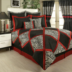 Sherry Kline - Sherry Kline True Safari Black 4-piece Bedding Collection - This luxurious and high quality bedding collection features a brilliant zebra pattern offset by solid color squares and vivid red lines. The bedding collection set includes one oversized comforter,one tailored bedskirt,two shams.