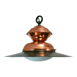 Lavish Shoestring - Consigned 2 Large Restored Industrial Copper Ceiling Hanging Lights, English - This is a vintage one-of-a-kind item.