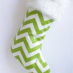 Green & White Chevron Modern Christmas Stocking by Switch Studio - A cool geometric print gives this traditional Christmas stocking a fun and modern twist.