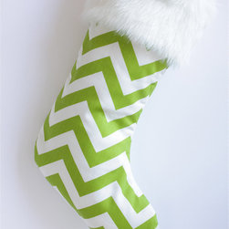 Green & White Chevron Modern Christmas Stocking by Switch Studio - A cool geometric print gives this traditional Christmas stocking a fun and modern twist.