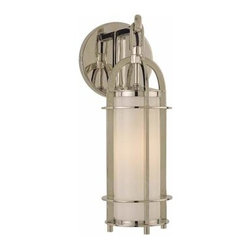 Hudson Valley - Portland One-Light Polished Nickel Sconce - - We?ve adapted the classic coach lamp to create our Portland collection. Opal glass evenly diffuses glowing white light from within the lamps? clean-lined, cylindrical cages. Hook-and-eye hangers provide the authentic details that make our fixtures standout. Portland adds a hint of rustic charm to a style that carries contemporary allure  - Finial Shade Attachment   - Bulb is not included Hudson Valley - 8501-PN
