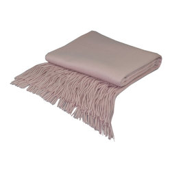 "Pur by Pur Cashmere - Signature Blend Throw Barley Pink 50""x65"" With 6"" Fringe - Signature cashmere blend throw 10% cashmere / 80% wool / 10% microfine Dry clean only. Inner mongolia."