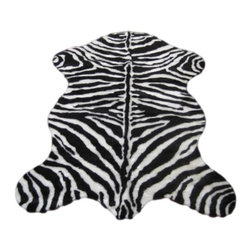 "Walk on Me - Faux Zebra Skin Rug - Narrow Stipe (28""x43"") - Sophisticated, startling, intensely stylish - densely knitted yet delicately sleek short pile - jet black, natural white - machine washable, hypoallergenic, non-slip - Made in France"