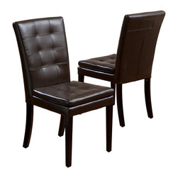 Great Deal Furniture - Barrington Leather Dining Chair, Set of 2 - Why not slip into something comfortable for dinner? These beautifully modern chairs have a superb seat cushion and are crafted in soft brown leather, making them the go-to design for your dining room table.