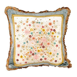 Jay Strongwater - Jay Strongwater Mille Fiori Pillow, Multi - A cascade of myriad flowers adorns the front of this elegant pillow.