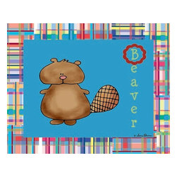 Oh How Cute Kids by Serena Bowman - Animal Alphabet - Beaver, Ready To Hang Canvas Kid's Wall Decor, 24 X 30 - Every kid is unique and special in their own way so why shouldn't their wall decor be so as well! With our extensive selection of canvas wall art for kids, from princesses to spaceships and cowboys to travel girls, we'll help you find that perfect piece for your special one.  Or fill the entire room with our imaginative art, every canvas is part of a coordinating series, an easy way to provide a complete and unified look for any room.