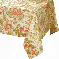 """Enchante Accessories Inc - Raymond Waites Rectangular Table Cloth - 60""""x 102"""" (Beige/Multi Flowers) - Premium quality 100% cotton table linen with finished seamExpertly tailored with high quality cotton linenMachine wash in cold with like colors, colors do not bleedFloral patterns with elegant vintage styleMatching napkins availableElegant and functional, these tablecloths serve to dress a table, and to protect it from scratches. Use on dining room tables, banquet tables and restaurants. We carefully select high-quality fabrics and threads to create every table linen. Made from natural materials and dip-dyed with non-toxic dye, the reactive dyeing process makes the table linens a beautiful and solid color while maintaining their natural softness.These gorgeous floral prints invite lively conversations for brunch, lunch, garden parties and casual dining. Made in India of 100% cotton, in deep colors as shown, these exciting tablecloths are beautifully finished with fine printed elegant patterns.These high quality cotton table linens have a wonderfully vintage feel and are a great way to enhance your dining room setting.The Table cloths come in a variety of patterns and colors. They come packaged in a protective plastic button sealed case."""