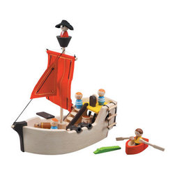 Plan Toys Activity Pirate Ship - Your little pirate can travel the high seas in an environmentally safe wooden ship. With accompanying figures, a treasure chest, barrel, and even hungry crocodile, your child can have hours of fun with this classic construction.