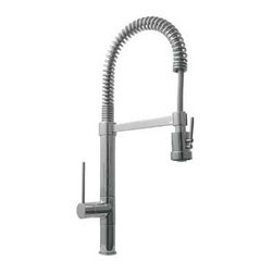 "Whitehaus Collection - Whitehaus WHLX78557S 9 1/2"" Metrohaus Commercial Single Hole Faucet, Brushed Nic - Metrohaus commercial single hole faucet with flexible spout, pull-down spray head swivel support bar and lever handle"