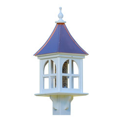 "Architectural Bird Feeder-Copper/Vinyl - Entice feathered friends while adding some curb appeal to your place with this stunning gazebo feeder! Standing 28"" tall from base to finial, there's never any worries of rotting, cracking, splitting or fading... guaranteed!"
