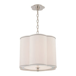 Hudson Valley - Sweeny Polished Nickel Three-Light Pendant with White Shade - - Glass Color: White  - Overall height : 18.5 - 71.25  - 54 Chain  - Bulb Not Included  - Shade Material: Faux Silk  - Canopy dimensions: 6dia Hudson Valley - 7915-PN