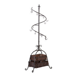 Upton Home - Upton Home Spiral Accessory Tree - Espresso rattan baskets combined with fleur de lis scroll detailing on antique black metal highlight the traditional style of this spiral accessory tree. Perfect for organizing coats,scarves,purses,