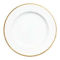 Deshoulieres - Senat Gold Dinner Plate - The simplicity and purity of hand-painted gold highlights all the glory in this collection. Add a touch of modern sophistication to your table with this plate.