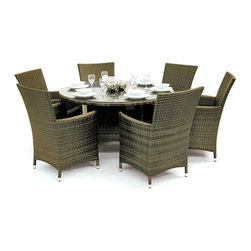 "Reef Rattan - Reef Rattan Tobago 7 Pc Round Dining Set - Natural Rattan / Grey Cushions - Reef Rattan Tobago 7 Pc Round Dining Set - Natural Rattan / Grey Cushions. This patio set is made from all-weather resin wicker and produced to fulfill your needs for high quality. The resin wicker in this patio set won't fade, shrink, lose its strength, or snap. UV resistant and water resistant, this patio set is durable and easy to maintain. A rust-free powder-coated aluminum frame provides strength to withstand years of use. Sunbrella fabrics on patio furniture lends you the sophistication of a five star hotel, right in your outdoor living space, featuring industry leading Sunbrella fabrics. Designed to reflect that ultra-chic look, and with superior resistance to the elements in a variety of climates, the series stands for comfort, class, and constancy. Recreating the poolside high end feel of an upmarket hotel for outdoor living in a residence or commercial space is easy with this patio furniture. After all, you want a set of patio furniture that's going to look great, and do so for the long-term. The canvas-like fabrics which are designed by Sunbrella utilize the latest synthetic fiber technology are engineered to resist stains and UV fading. This is patio furniture that is made to endure, along with the classic look they represent. When you're creating a comfortable and stylish outdoor room, you're looking for the best quality at a price that makes sense. Resin wicker looks like natural wicker but is made of synthetic polyethylene fiber. Resin wicker is durable & easy to maintain and resistant against the elements. UV Resistant Wicker. Welded aluminum frame is nearly in-destructible and rust free. Stain resistant sunbrella cushions are double-stitched for strength and are fully machine washable. Removable covers made with commercial grade zippers. Tables include tempered glass top. 5 year warranty on this product. Round Table: W 53"" D 53"" H 30"", Chairs (6): W 24"" D 24"" H 33"""