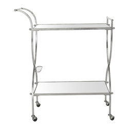 Safavieh - Lucretius Bar Cart - Restaurant-chic service can be yours at home with the portable Lucretius bar cart.  Its graceful handles and elegant frame of beautifully forged iron in a lustrous silver finish are contrasted with mirrored glass shelves for barware, bottles and more.
