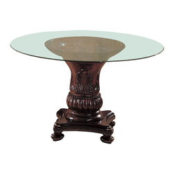 Coaster - Coaster Tabitha Traditional Round Dining Table with Glass Top in Cherry Finish - Coaster - Dining Tables - 101030CB48RD - Adorn your dining room with the small design of the round dining table that packs a big punch. A traditional style features a sculpted single pedestal base and a glass top. Add the dining side or arm chairs for a complete collection.Features:
