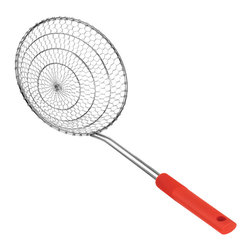 Kuhn Rikon - Kuhn Rikon Spider Skimmer Large - Red - The Kuhn Rikon spider skimmer gently lifts food as small as a pea from boiling water or a deep fryer and drains them beautifully.    Length: 17 in.  Width: 7 in.  Height: 6 in.  Color: Red