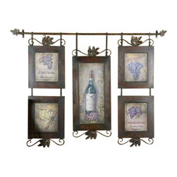 Uttermost Hanging Wine Framed Art - Brown base with black distressing. This hanging collage features oil reproductions with a hand applied brushstroke finish. Frame is hand forged metal finished in brown with black distressing.
