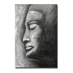 Pure Art - Vapors of Concentration Abstract Metal Art - A classic profile of a woman face, this artwork features a woman with strong, exotic features, her hair pulled back away from her face, creating a stark, powerful presence. Her closed eyes and the suggestion of floating air and light around her face make it appear as though she is lost in thought and emotionMade with top grade aluminum material and handcrafted with the use of special colors, it is a very appealing piece that sticks out with its genuine glow. Easy to hang and clean.