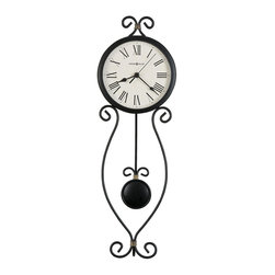 HOWARD MILLER - Ivana Wall Clock - Wrought iron pendulum wall clock finished in antique black with gold highlights.