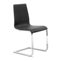 Domitalia - Jude-SP Metal Sled Base - Black - Chrome Frame - Set of 2 - The versatile Jude-Sp Chair features a dramatic cantilever base made of rectangular chromed steel with a smooth upholstered shell shaped for comfort. This subtle design fits easily into nearly any modern space. Upholstered with a durable polyester/PVC blend fabric that has been tested for 50,000 abrasion resistance cycles, the Jude-sp Chair is available in Black or Taupe. Sold only in sets of 2.