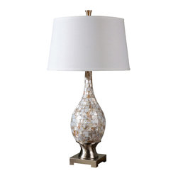 Uttermost - Uttermost Madre Mosaic Tile Lamp - Madre Mosaic Tile Lamp by Uttermost Mosaic Tiles Of Mother Of Pearl Accented With Brushed Aluminum Accents. The Round, Slightly Tapered Hardback Shade Is A White Linen Fabric.