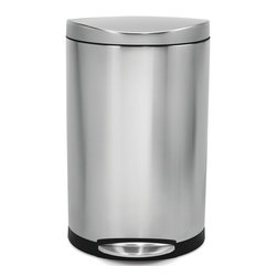 simplehuman - simplehuman Semi-Round Step Brushed Stainless Steel Trash Can (10.5 Gallons) - Bring a modern touch to the kitchen or other space with this stainless-steel round trash can. It holds 10.5 gallons and is made from brushed stainless steel and plastic. It has a convenient step-on feature that allows for hands-free opening.