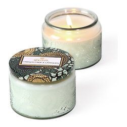 VOLUSPA - Ltd Edition Petite Candle In Colored Jar W/ Metallic Lid - French Cade Lavender - French Cade Lavender