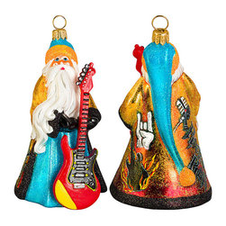 Frontgate - Glitterazzi International Rock-n-Roll Santa Ornament - Each ornament takes up to 7 days to produce. Constructed of 100% European-made glass. Arrives in a handsome black lacquered box for gifting and safekeeping. Hanger is included for easy display. Our collectible Glitterazzi International Ornament from Joy to the World was created with the utmost attention to quality and detail. The finest artisans in Poland individually mouth blow and hand paint each ornament, achieving new levels of innovation and artistic integrity in their designs. Using only traditional old world production methods and materials sourced from European countries, they ensure that each ornament is an impressive work of art that will be treasured for generations.  .  .  .  . Made in Poland.