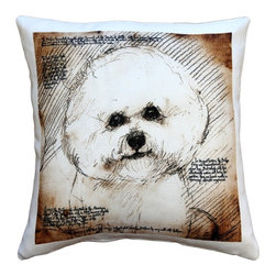 Pillow Decor - Leonardo's Dogs Bichon Dog Pillow - Created in the style of a Leonardo da Vinci sketch, this Bichon dog image is applied to a wonderfully soft and natural feeling indoor/outdoor poly-linen fabric. The Bichon Dog Pillow makes a great gift for anyone who owns and loves this breed. Or incorporate this pillow into your own home to celebrate the unconditional affection that your dog shares with you. A Leonardo's Dogs original.