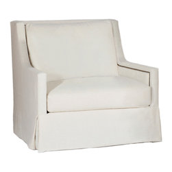 Gabby - Gabby Furniture Helena Swivel Chair - Decor with a story, Gabby's line of antique reproduction furniture retains the spirit of the European pieces that inspired it. The Helena swivel chair offers simple and elegant style for a living room. Accented by nailhead accents on the interior arms, this beautiful white seat delights with a soft cascading skirted bottom and cozy cushions. Kidney pillow not included. Available in a variety of finishes and fabrics. Not available in leather.