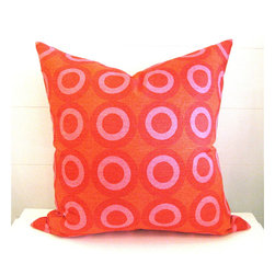 Orange & Pink Circle Pillow - This gorgeous linen pillow comes in just the right shades of orange and pink! Yum.