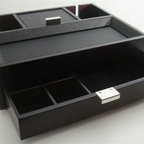 Proman Products - Monarch Dresser Valet - Dark Cherry/Mahogany Leatherette tray for accessories. Black lining interior. Modern chrome handles. Pull out drawer with compartments. Two back slits for convenient charging. No assembly required. 14.25 in. W x 11 in. D x 4.5 in. HThis valet is a practical and stylish addition to any dresser. Beautiful and highly functional. It makes the perfect gift!