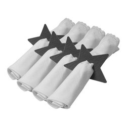 The Felt Store - Felt Star Napkin Holder - Set Of 4 Pieces - Gray - This Star shaped napkin holder will brighten up your dining table while holding your napkins together. The napkin holder is uniquely designed with a smaller star-shape punched out in the middle; it measures approx. 4 inches x 4 inches (102mm x 102mm) and is made of our environmentally friendly 5mm designer felt. The Napkin holder is available in white, apple green, dark brown and dark gray and comes in a set of four stars. *NAPKINS ARE NOT INCLUDED*