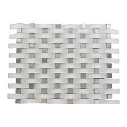 "Loft Curve Super White Glass Tile Metal Dot, Sheet - Loft Curve Super White Glass Tile Whether using this stunning tile as a back splash, wall, or as an accent piece, the polished super white glass tile and black dot will bring a modern and contemporary ambiance to the room. Add a pop to any room with these beautiful tiles that are versatile; great to use for a back splash. Chip Size: 2 1/2"" x 3/4"" Dot: 3/4"" x 3/4"" Color: Super White Glass Finish: Polished Sold by the Sheet - each sheet measures 13""x11"" (0.99 sq. ft.) Thickness: 8mm Please note each lot will vary from the next."