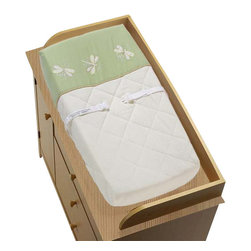 """Sweet Jojo Designs - Green Dragonfly Dreams Changing Pad Cover - Green Dragonfly Dreams changing pad cover will help complete the look of your Sweet Jojo Designs nursery. This changing pad cover can be used with standard or contoured changing pads up to 17"""" x 31"""". It also has elastic edges for a tailored, snug fit."""