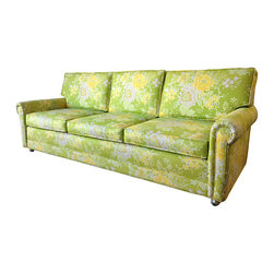 Vintage Floral Sofa - 1974 custom built sofa, original everything, in pristine, hardly used condition. Cotton blend happy green, yellow and white floral print. Front legs are easy to move gold toned wheels. Flex frame.