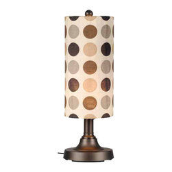 Caliente Outdoor Table Lamp - Simplistic contemporary styling highlights the Calliente series of weatherproof portable lamps. This table lamp features weatherproof all resin construction with a heavy weighted base and a two level dimming switch and an 18 ft. weatherproof cord. Durable acrylic waterproof light bulb enclosure allows the use of a standard 100 watt light bulb and Sunbrella cylinder shades, available in 28 decorator colors allow you to easily coordinate with your outdoor living area.