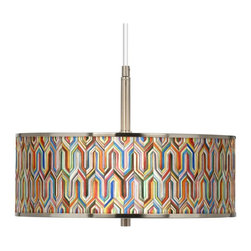 "Giclee Glow - Synthesis Giclee Glow 16"" Wide Pendant Light - The varied colors and sharp lines of the Synthesis custom printed giclee shade give this drum pendant light a textured look. This pendant offers a crisp, clean lighting design with the artistic addition of an illuminated giclee shade. The design features an exclusive pattern custom giclee printed on a translucent shade. This high-quality material allows warm light to shine through the shade, illuminating the pattern and creating a spectacular look. A white acrylic diffuser at the bottom prevents glare and provides even lighting. This stylish fixture is custom made to order. U.S. Patent # 7,347,593."