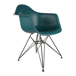 "Black Eiffel Arm Chair in Teal - Some designs were ahead of their time. Considered the chair of tomorrow for both its design and its innovative single-mold manufacturing process, one of the most iconic mid-century furniture designs inspired the Eiffel Arm Chair. Created in the spirit of economy and affordability, its unique shape spreads the sitter's weight and pressure evenly. The deep seat and waterfall edge provide additional comfort as the design shapes itself around the body's curves, while the black chrome eiffel-style base offers a modern twist on the original iconic design. If you've done away with formality in your home, the Black Eiffel Arm Chair is that one piece of furniture that exemplifies the ""less is more"" ethos. It's the ultimate seat that goes well in a variety of different settings: as a home office chair, an entryway slipper seat, or that one statement piece in the living room."