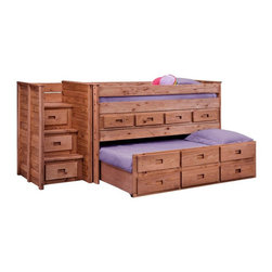 Chelsea Home - Chelsea Home Twin Loft Bed - Mahogany Brown - CHEL1465 - Shop for Bunk Beds from Hayneedle.com! Comfortable rustic style and plenty of space for everyone the Chelsea Home Twin Loft Bed - Mahogany Stain is a family favorite. The primitive design of the rough-hewn construction is finished in a warm Mahogany stain for natural beauty. Stairs comfortably get your child to their loft bed while the included trundle cleverly slides underneath for space-saving brilliance. Flour storage drawers only add to the amicable design. About Chelsea Home FurnitureProviding home elegance in upholstery products such as recliners stationary upholstery leather and accent furniture including chairs chaises and benches is the most important part of Chelsea Home Furniture's operations. Bringing high quality classic and traditional designs that remain fresh for generations to customers' homes is no burden but a love for hospitality and home beauty. The majority of Chelsea Home Furniture's products are made in the USA while all are sought after throughout the industry and will remain a staple in home furnishings.