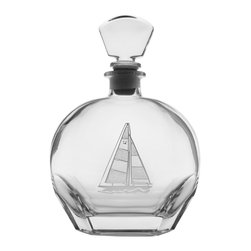 Rolf Glass - Sailboat Whiskey Decanter 23oz - The hue of any of your finest Scotch, bourbon, or whatever your pleasure will be amplified by this clear crystal decanter. A crisply etched sailboat, complete with racing number, lends a nautical feel.