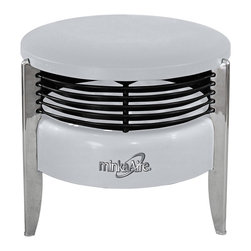 "Minka Aire - Contemporary Minka Aire Hassock Silver Portable Floor Fan - Silver finish with black fins. Three blade turbo fan. 12"" blade span. 3-speed portable fan design. Ideal for indirect airflow. 14"" high. 16 1/2"" wide. (UM)  Silver finish with black fins.  Three blade turbo fan.  12"" blade span.  3-speed portable fan design.  Ideal for indirect airflow.  14"" high.  16 1/2"" wide."