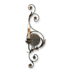 Currey and Company - Infinity Wall Sconce, Right - You don't have to have the Midas touch to find natural elements crafted in metal. This unique wall sconce is adorned with vines, flowers and leaves made of wrought iron. The look is organic and rustic and at the same time graceful.