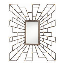 Arteriors - Electra Mirror By Arteriors - Its radiating geometric frame makes this mirror the most fabulous of them all! Natural iron with welded brass details, it will reflect your impeccable taste wherever you choose to hang it.