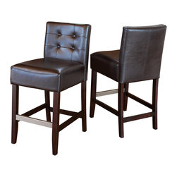 Great Deal Furniture - Gregory Brown Leather Back Stools (Set of 2), Brown Counter Height - These comfortably soft Gregory leather counter stools are a perfect transitional piece from your kitchen to your living room. Place them in your kitchen, bar or dining room and you will enjoy the look and feel of these stools.
