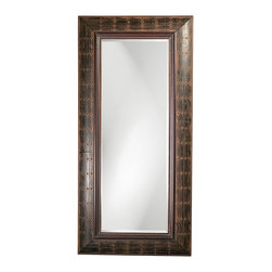 Howard Elliott - Howard Elliott Pamela Leaner Mirror - The oversized rectangular wooden frame of the Pamela Mirror is painted with a French brown finish and distressed with antique rust highlights and accented with rows of small brass buttons.