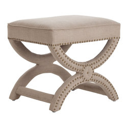 Arteriors Tennyson Natural Linen Stool - Not only is the Arteriors Tennyson linen stool convenient for propping your feet up and using as extra seating, but it blends in with practically every environment.