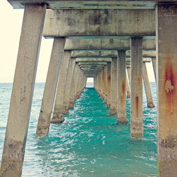 Ocean Pier - Beach photography of the the turquoise blue ocean waves under an ocean pier. Home decor wall art. Beach photography by Beach Bum Chix.