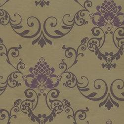 Wallpaper Worldwide - Illinois - Royal Damask Wallpaper, Metallic, Purple - Material: Paper Backed. PVC.